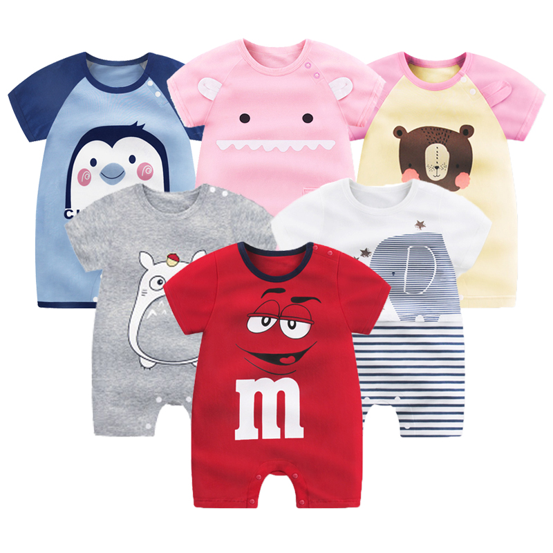 Newborn Baby Short Sleeved Jumpsuit Dress Summer Thin Cartoon   Romper   Infant Baby Boutique Clothes Organic Cotton Animal Costumes