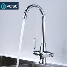 Everso  Double Holes Flexible Kitchen Faucet Mixers Sink Tap Wall Hot and Cold Water