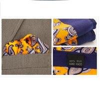 2017 Homens 100% De Bolso de Seda Quadrado, Amarelo Azul Geométrica Impressão Lenço do vintage para a Festa de Casamento Formal do Negócio + Caixa de Presente