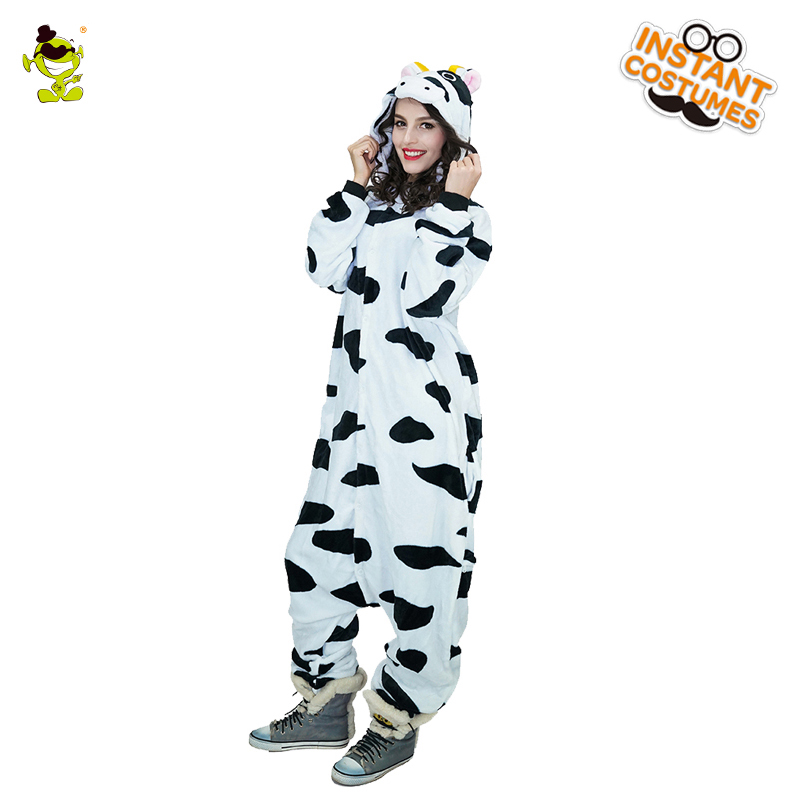 New Design Cow Pajamas Woman Cute Pajamas Costumes Carnival Party Adult Hooded Dress-up Funny Animal Sleepwear for Women