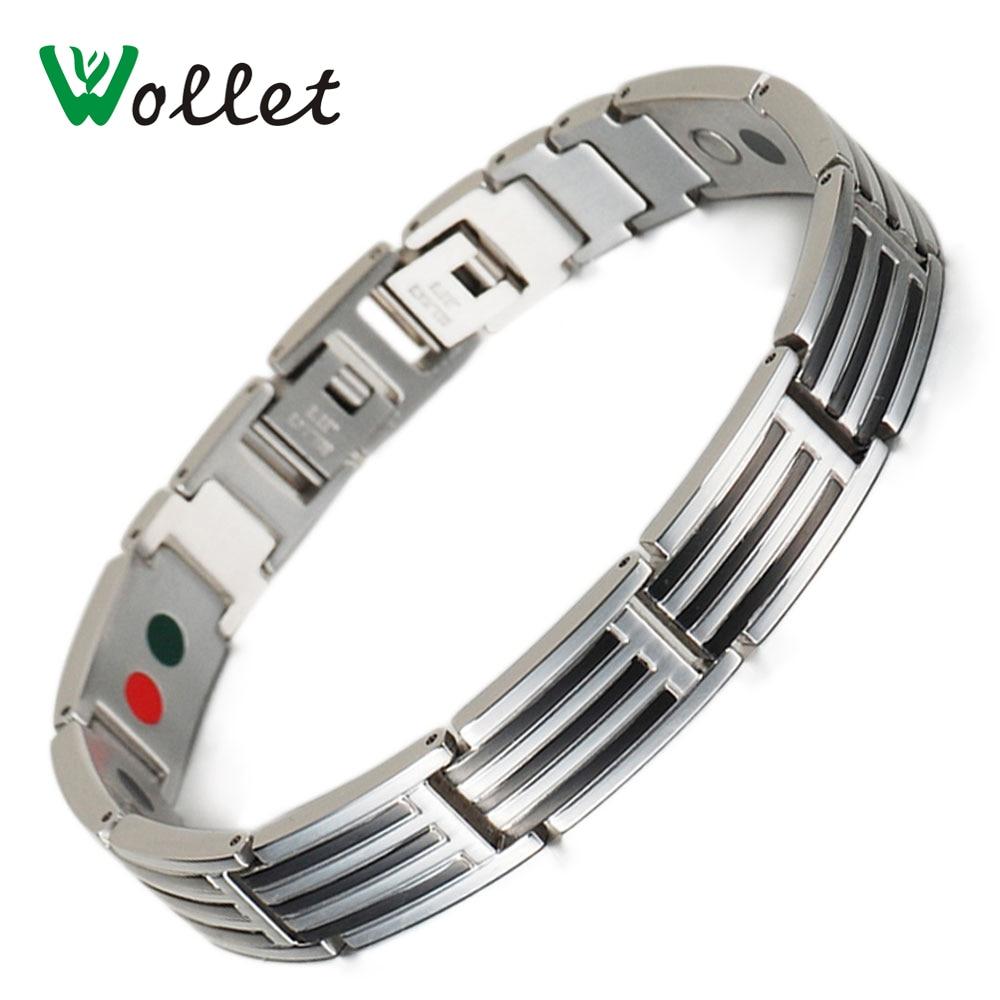 Health Energy Care 316L Stainless Steel Bracelet Black Silve Plated Magnetic Germanium Tourmaline Nano Bracelet For Female