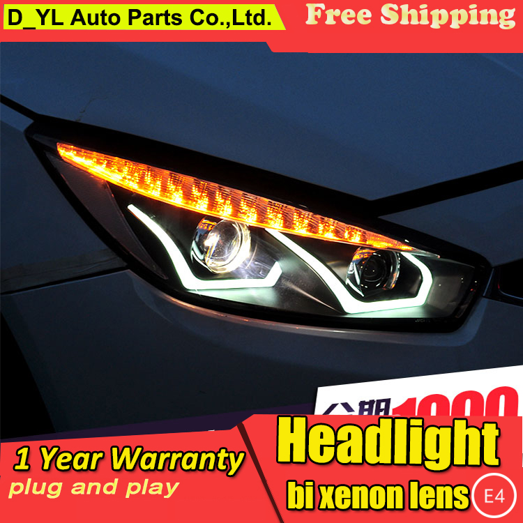 D YL Car Styling for Chevrolet Cruze Headlights 2015 Cruze LED Headlight DRL Lens Double Beam