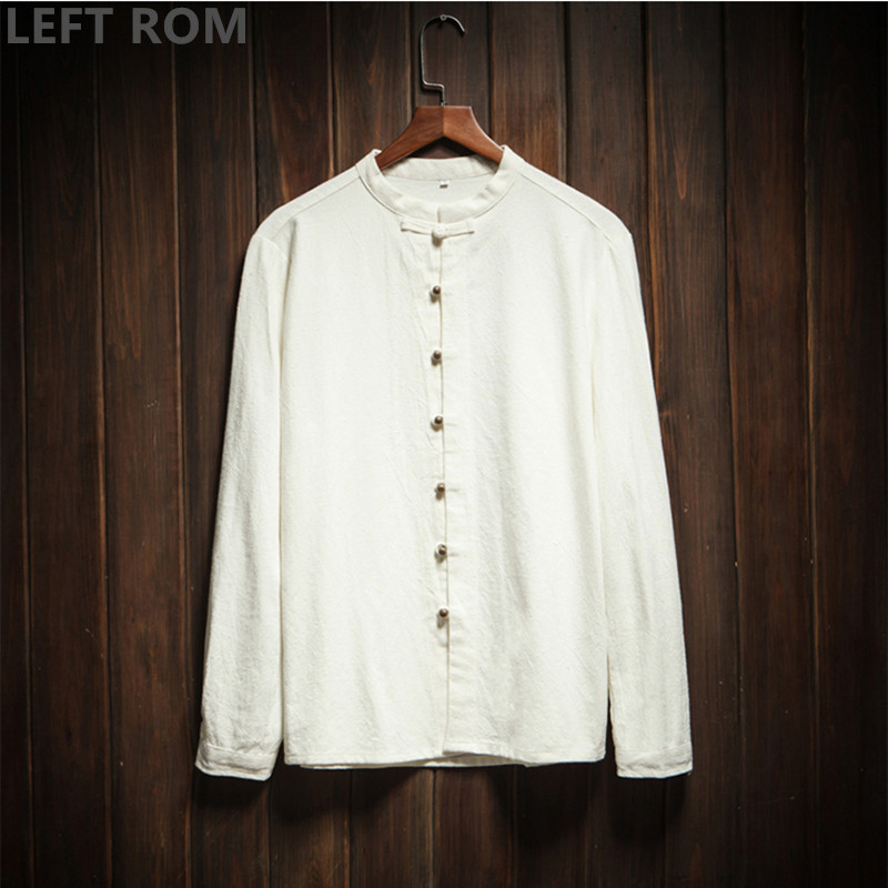 LEFT ROM 2018 Male Fashion cotton linen Long sleeve Stand collar shirt man Business Casual Rope buckle Comfortable size S-5XL