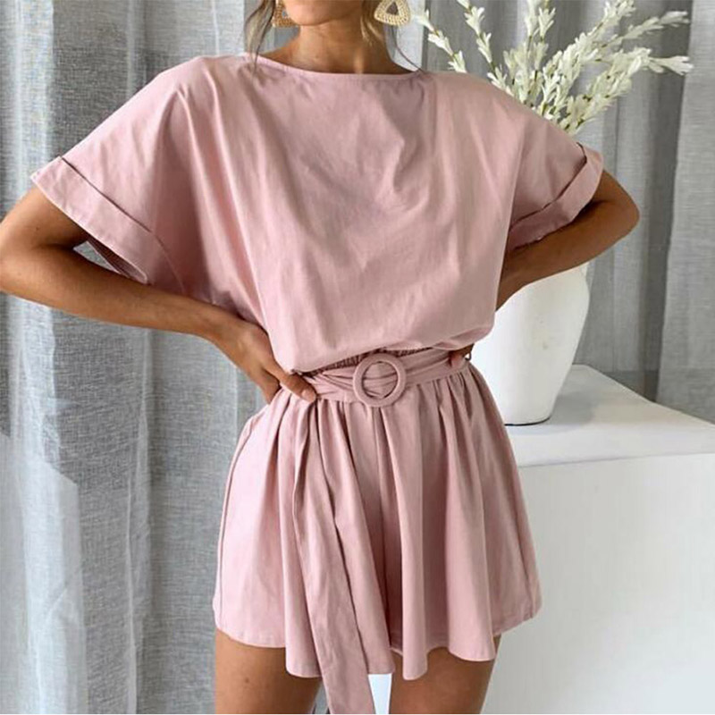 Casual O Neck Short Sleeve Jumpsuit Summer Beach Romper Women Overalls Playsuit