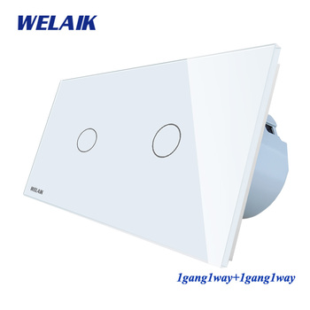 Welaik Merek 2 Bingkai Kaca Kristal Panel Uni Eropa Dinding Switch Uni Eropa Saklar Sentuh Layar Lampu Switch 1gang1way AC110 ~ 250 V A291111CW/B