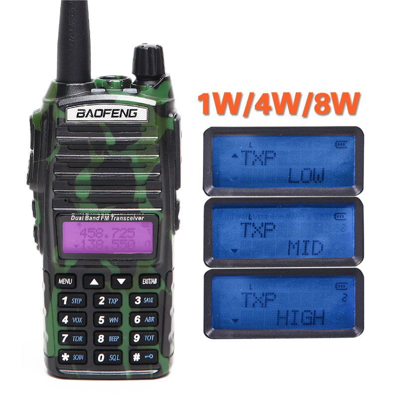Baofeng UV-82 Plus Dual PTT Walkie Talkie 8W Powerful vhf/uhf 10km Long Range Portable CB Handheld BF-UV82+Acoustic Tube Headset