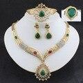 Свадебные украшения устанавливает Люкс ювелирные наборы Для Женщин позолоченные Африка ожерелье серьги браслеты резные крупные капли