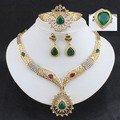 Wedding jewelry sets Bridal  jewelry sets For Women  Gold plated Africa necklace earrings bracelets carved large droplets