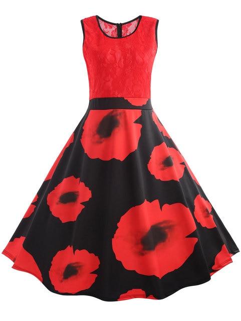 Gamiss Dress Women Plus Size 5XL Vintage Lace Trim Floral Valentine ...