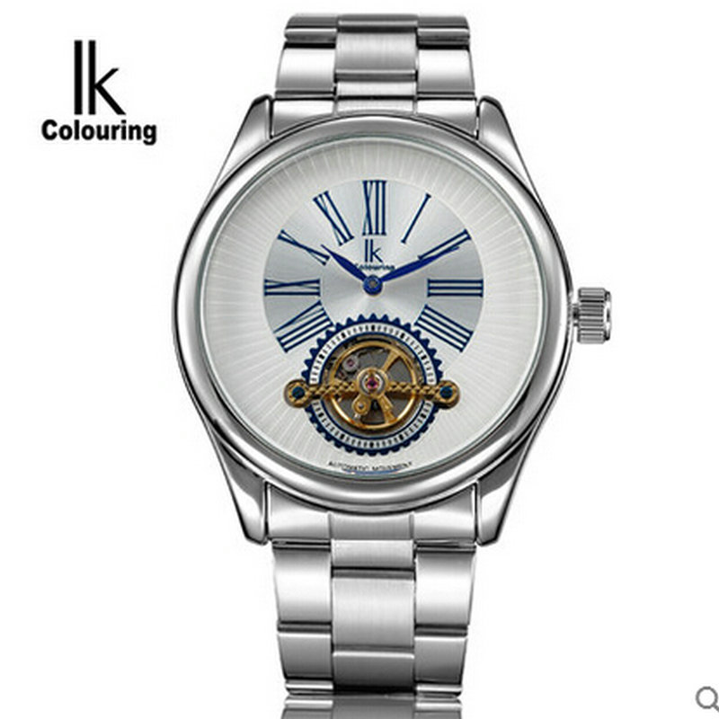 ФОТО Ik for fully-automatic mechanical watch tourbillon fully-automatic 2 needle cutout male casual watch