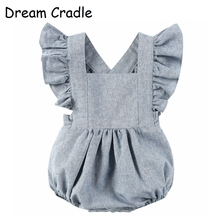 Dream Cradle / Linen Baby Romper , Summer Solid Ruffle romper