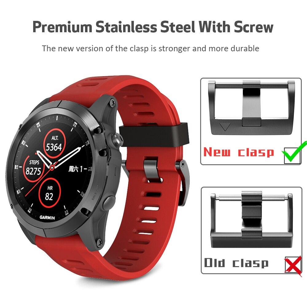 26mm Width Silicone Strap for Garmin Fenix 5X Band Silicone Watch band for Garmin Fenix 3HR/3/Fenix 5X Plus with Screw Buckle все цены