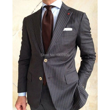 Black Stripe Men Suits for Wedding Groom Tuxedos Two Piece Jacket Pants Latest Design Male Clothing