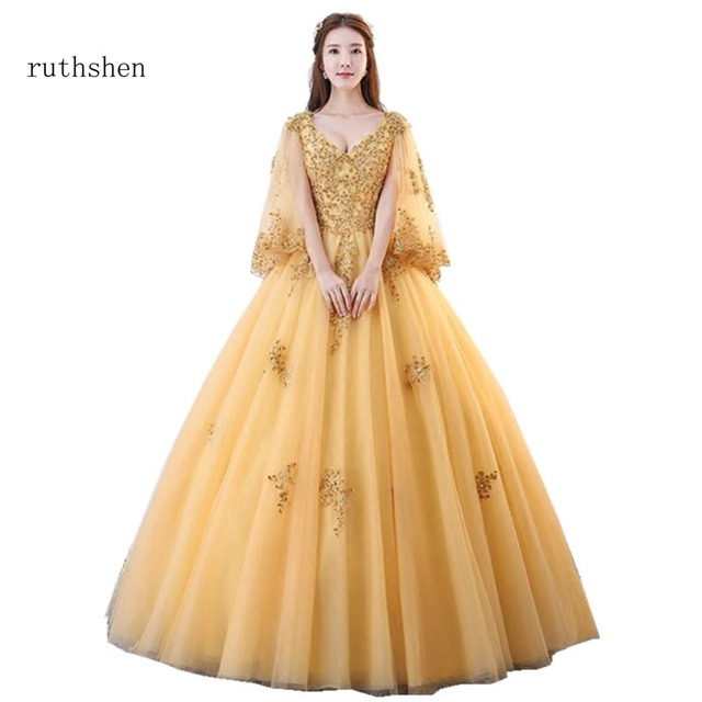 0709fbb9df1 ruthshen Latest In Stock Sexy V Neck Debutante Prom Dress Beaded Appliques  Sweet 16 Ball Gowns Luxury Full Sleeves Party Dresses