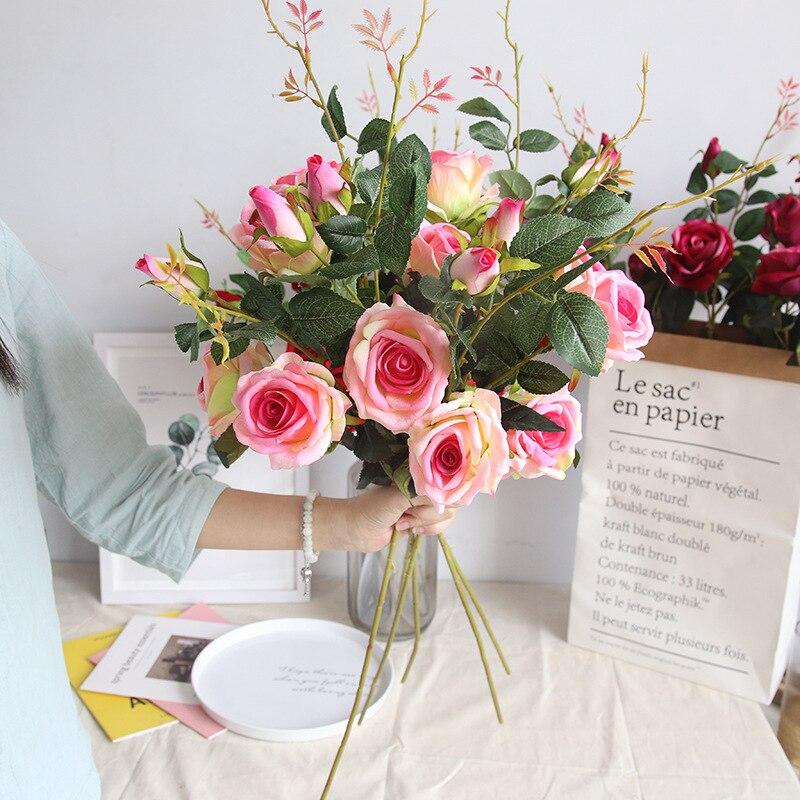 12 pièces fleur artificielle soie rose fleur mariage fête saint valentin mariage décoration faux soie rose 21 couleurs tête rose