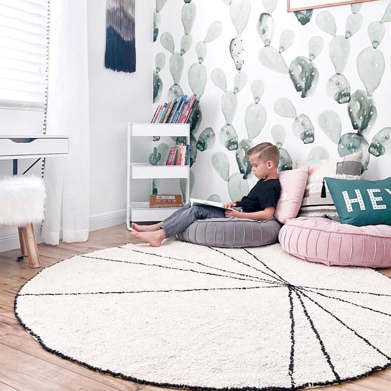 120 CM nordique bébé jouer tapis nouveau-né ramper tapis filles enfants chambre tapis rond tapis de sol pour salon décoration antidérapant