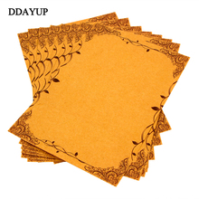 8pcs/pack Vintage Writing Paper Flower and Leaf Kraft Letter Paper Europe Style Papel Carta Writing Paper Stationery