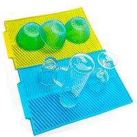 43*33 CM Rettangolo Extra Large Mat Asciugatura Piatto Tovaglietta-Premium In Silicone Resistente Al Calore-Antibatterico Dishwaser Sicuro flessibile