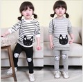 2016 Baby Girl Striped Clothing Sets Autumn & Spring Brand Children Sport Suits + Pants Cartoon Cat Kids Twinsets,