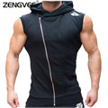 Mens Jackets Solid Color Sleeveless Men Clothing SportWear Muscle Tracksuit Zipper Jackets
