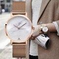 Minimalista estilo caliente de moda de lujo a estrenar bgg mármol reloj correa de acero inoxidable simple vestido de las mujeres relojes mujer de cuarzo reloj