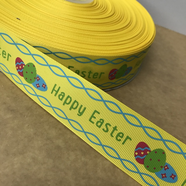 "Crazy Discount 1-1/2"" 38mm Happy Easter Printed Grosgrain Ribbon for DIY Bows Materials Baby/Children's Crafts 100 Yards"