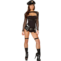 Impertinente preto Extra de Romper falso couro Bad Girl traje policial traje policial traje venda quente L15223