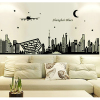 Modern Design City Wall Stickers Decal Glow In The Dark Living Room Bedroom Home Decor Luminous