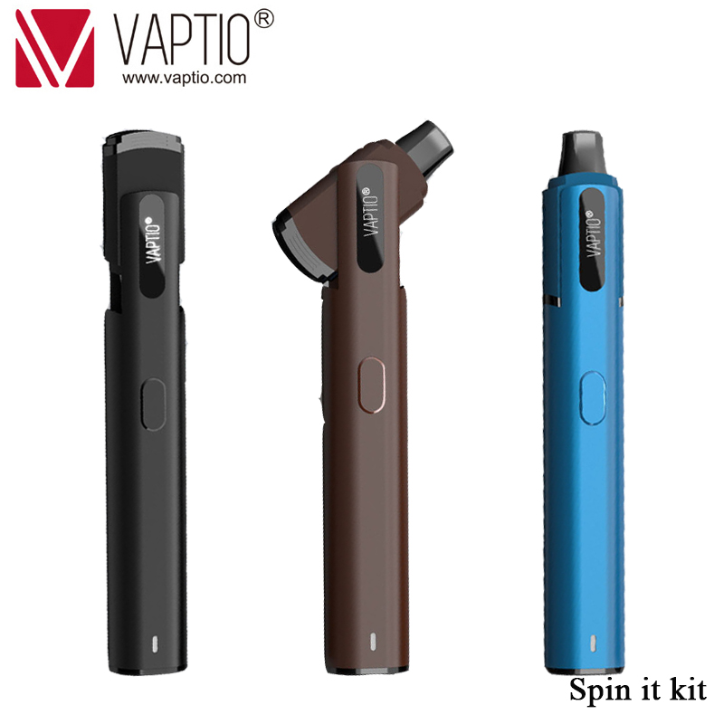 Original Vaptio Spin IT Kit e cigarette vape starter kits with Spinnable drip tip 500mAh built in battery  15W  1.8ml atomizer