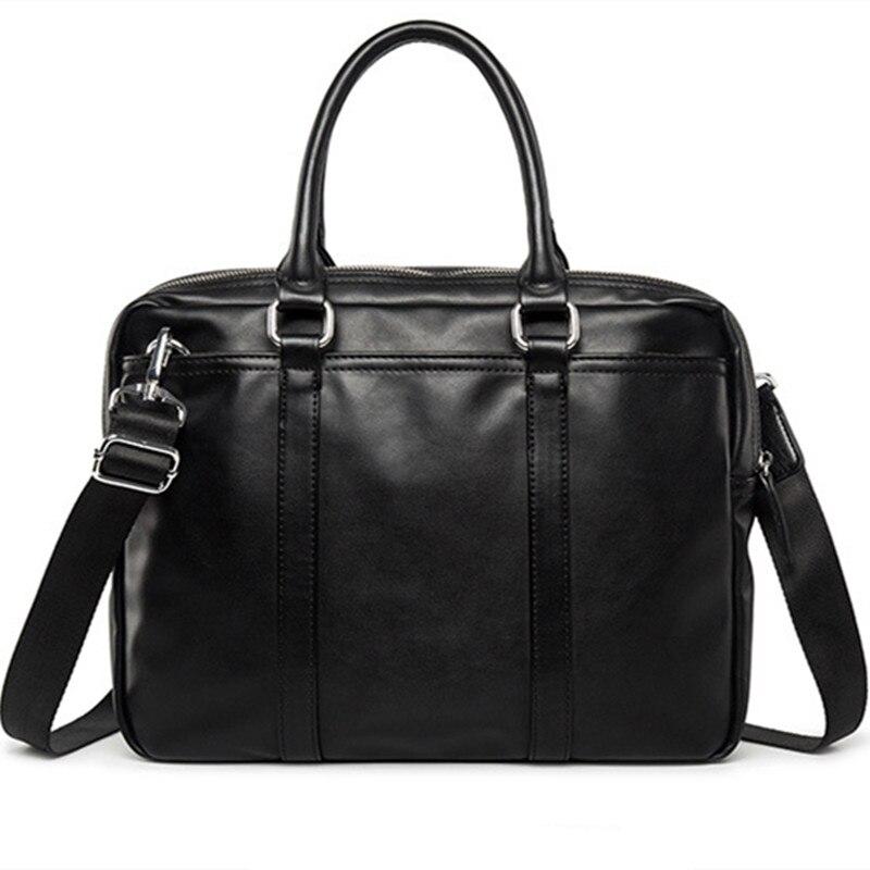 New Promotion Simple Brand Designer Business Men Briefcase Bag Luxury Leather Laptop Bag Man Shoulder Bag