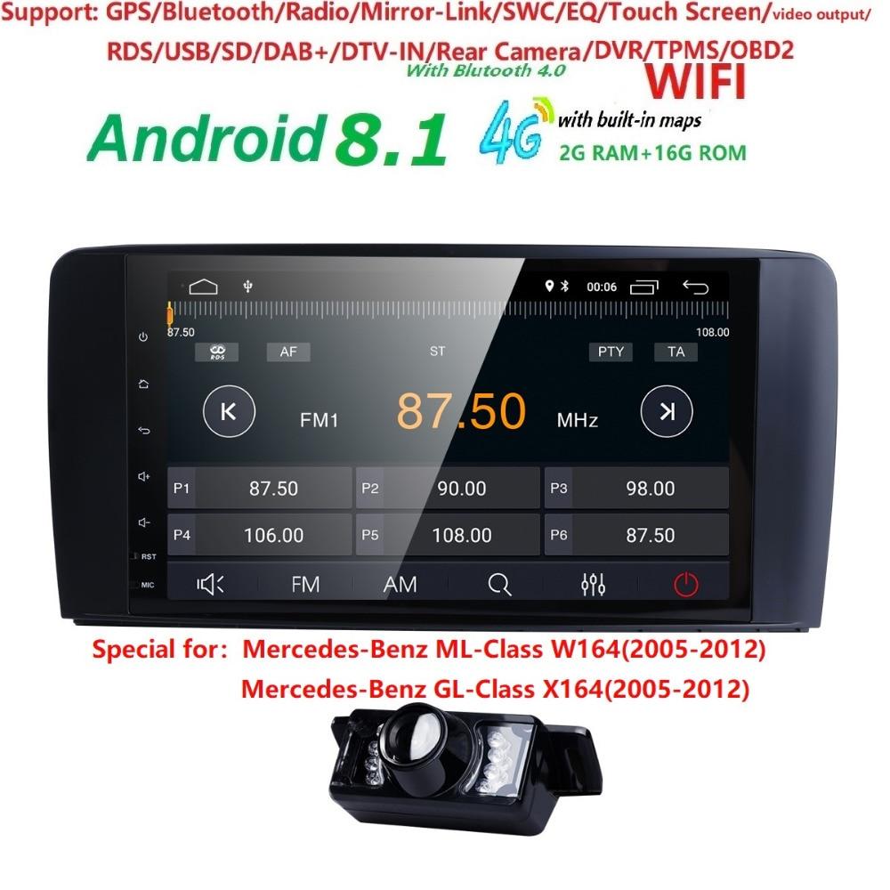 9 2 din autoRadio GPS Android 8.1 Car Multimedia Head unit for Mercedes Benz ML W164 ML350 GL X164 dinli 450 2005 2012 WIFI 4G