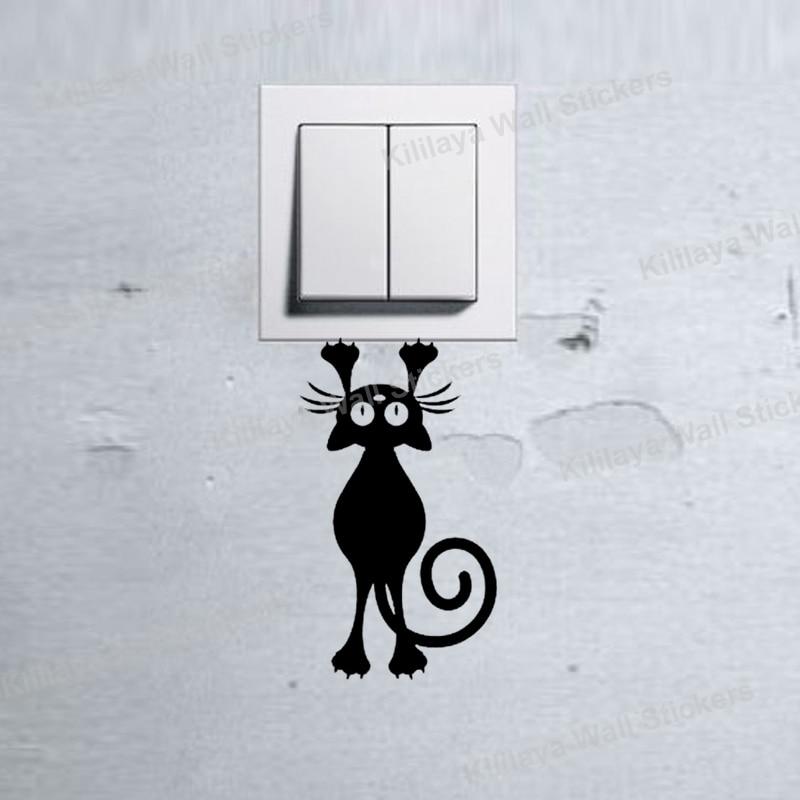 Hanging Lamp Wall Sticker: 3pcs/lot Kitten Cat Hanging Light Switch Decal Wall