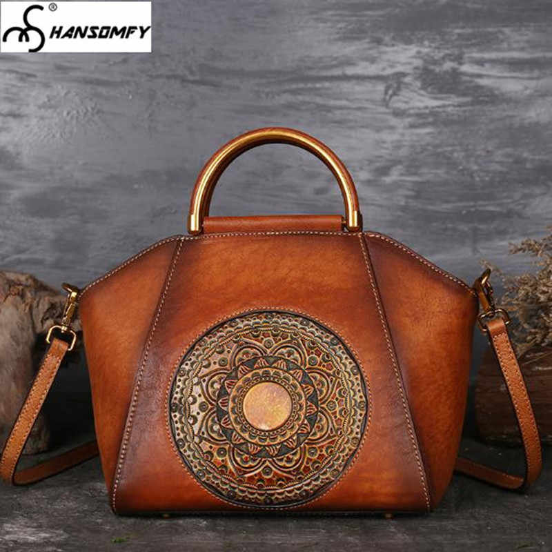 51b6d0acfbedd Genuine Leather Women Bags Totem embossed hand-painted Handbags female  shoulder high-grade retro