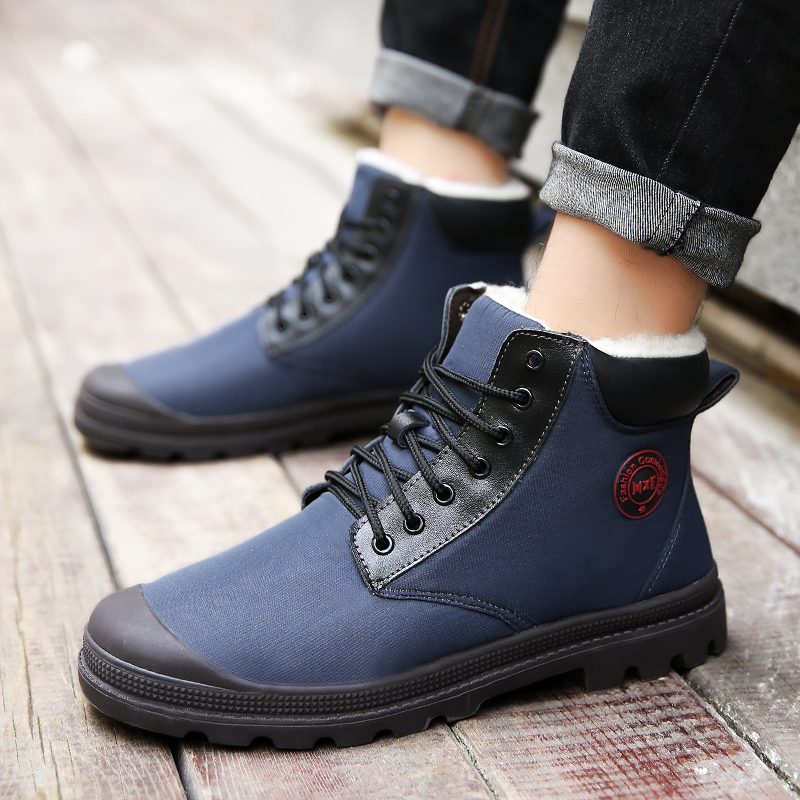 2018 New Cool Winter Men Boots with Fur Brand Blue Dark Grek Leather Snow Boots for Male Inside Velvet Rubber Sole Casual Boots in Snow Boots from Shoes