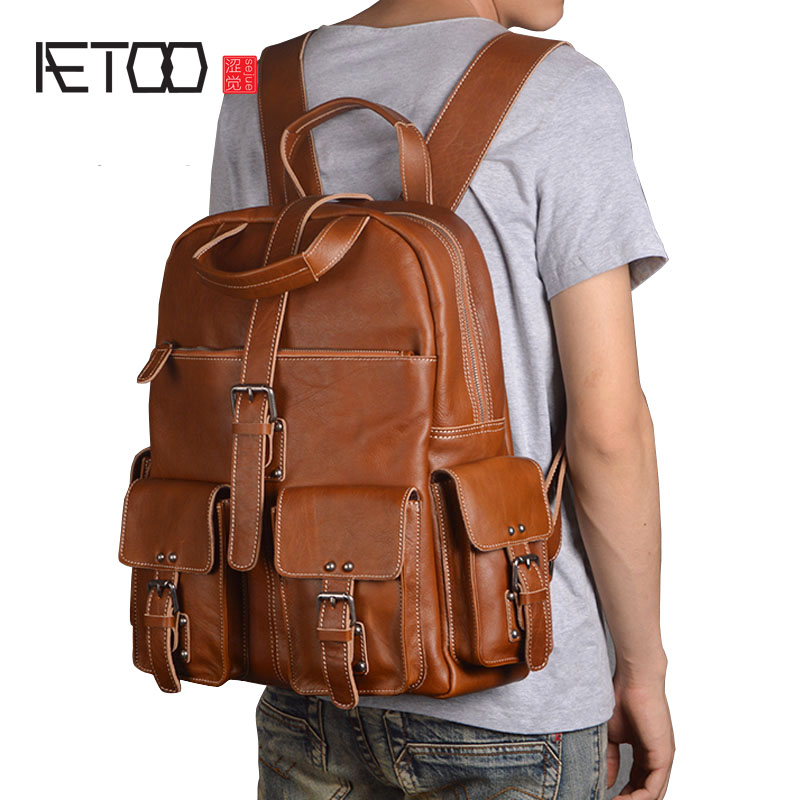 AETOO Shoulder bag leather male head layer leather backpack large capacity travel bag business casual computer backpack new male aetoo original shoulder bag leather retro backpack business computer bag head layer leather travel male bag college wind