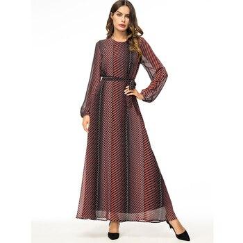 431fafe7290 Абаи Vestidos 2019 шифон Полосатый Турецкий Арабский мусульманское платье  хиджаб Катар ОАЭ одежда из Дубая для Для женщин турецкая исламская Кос..