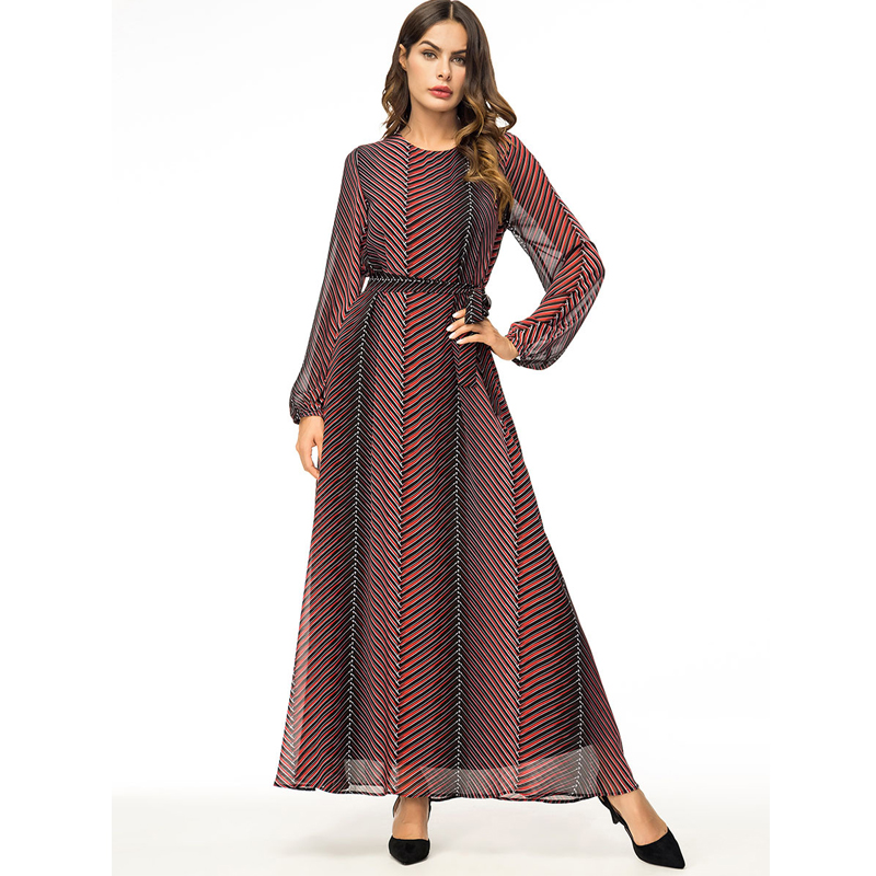 Abaya Vestidos 2019 Chiffon Striped Turkey Arabic Muslim Hijab Dress Qatar UAE Dubai Abayas For Women Turkish Islamic Clothing