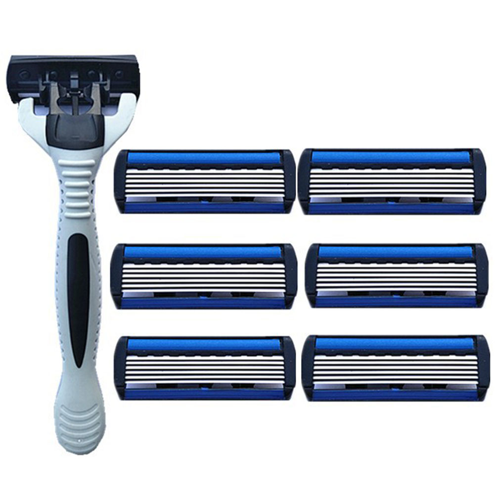 <font><b>6</b></font> Layer Stainless Steel Replacement Shaving Home Safe With Holder Beard Remove Efficient Manual Useful <font><b>Razor</b></font> <font><b>Blade</b></font> Set Portable image