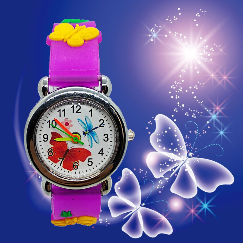 Little Girls Beauty Butterfly Dial Quartz Children Watch Good Quality Kids Casual Silicone Dress Watch Child Bracelet Gift Clock