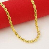 Mens Womens Gelbes Gold Füllte Seil Kette Verdreht Halskette Breite 5mm