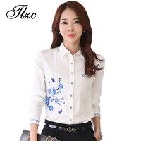 New Style Lady White Shirts Formal Work Blouse Size S 3XL Korean Women Printed Shirts Chiffon