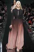 2016 High Fashion Farbverlauf Volle Hülsen Reich Gerade Jersey Pop-stil Open Back Echt PIC Abendkleid