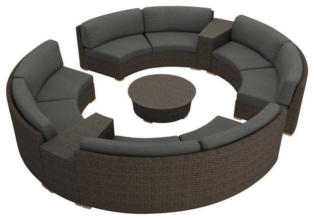 2017 Rattan Furniture Outdoor 7 Piece Round Sectional Sofa Set