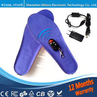 USB Charge Heated insoles Winter thick insole fur Warm with fur insert shoes accessories keep warm blue EUR size 35 46#2000MAH
