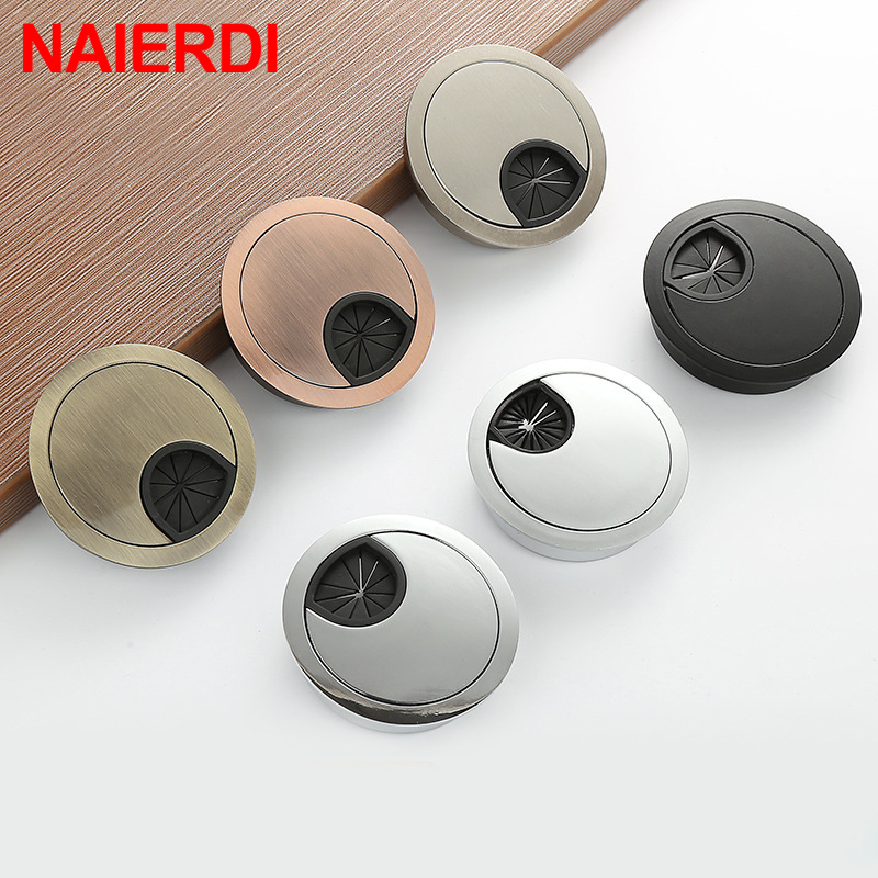 NAIERDI Zinc Alloy Round Table Wire Hole Covers Outlet Port Computer PC Desk Cable Grommet Line Holder 50mm/53mm/60mm/80mm