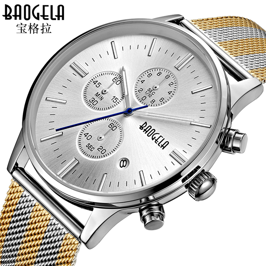 Watches Men BAOGELA Quartz Fashion Stainless Steel Chronograph Business Watch Clock for Gentle Men Male Reloj Hombre armiforce quartz men watches fashion genuine leather chronograph watch clock for gentle men male students reloj hombre