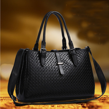 2016 layer of leather shoulder bag big bag European and American female knit leisure wild BB645