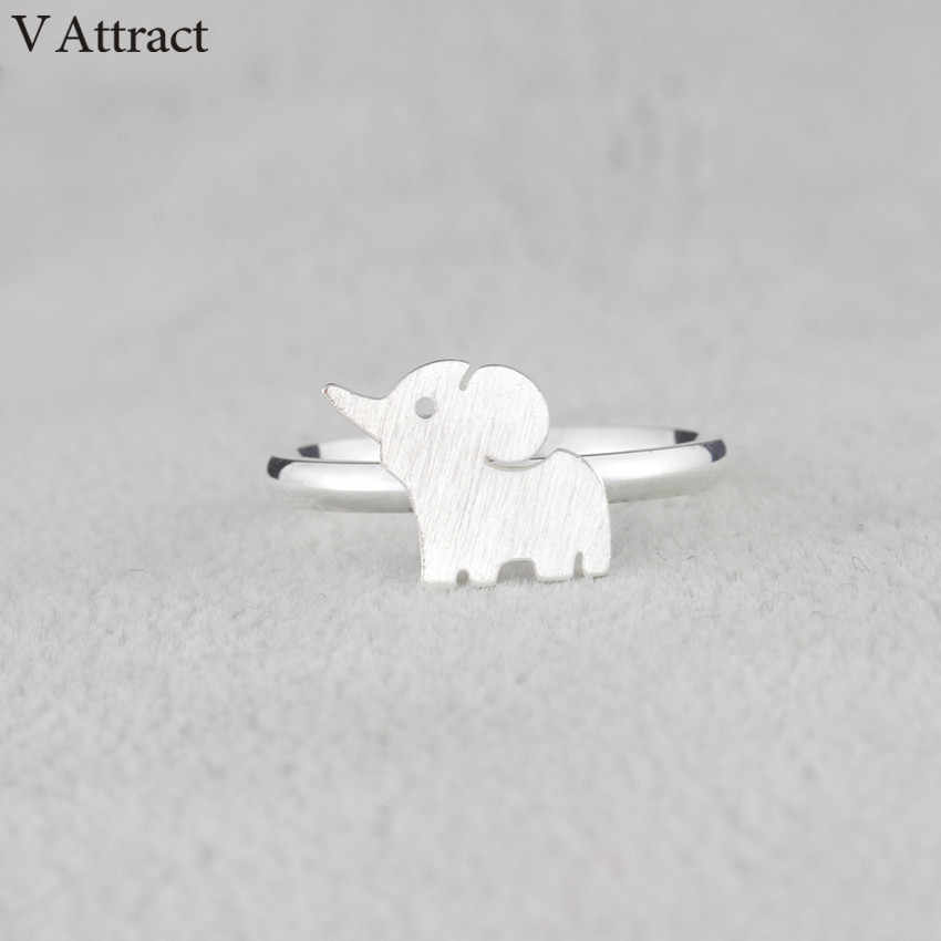 V Attract Bague Feminino 2018 Fashion Jewelry Stainless Steel Elephant Rings For Women Graduation Gift Rose Gold Silver Bijoux