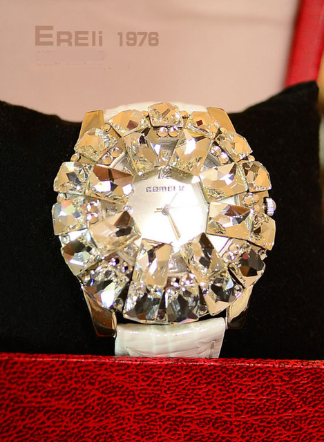 Free shipping famous brand luxury dress ladies timepiece jewelry wristwatches 7 color crystal quarzt