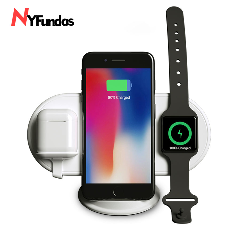 NYFundas 3 à 1 Sans Fil Chargeur Pour iphone X XS MAX XR 8 8 Plus Samsung Gaxary Note 9 S9 s8 Plus Apple AirPods Apple montre 2 3